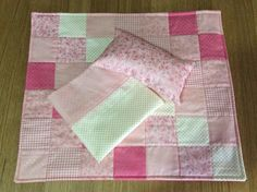 Doll quilt, pillow and sheet set by TheAngoraBunny on Etsy https://www.etsy.com/au/listing/537479881/doll-quilt-pillow-and-sheet-set