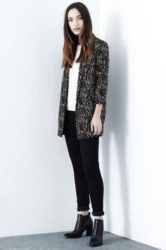 Jackets & Coats   Black TEXTURE PRINT LONGLINE BLAZER   Warehouse