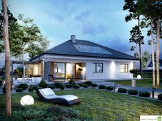 The Modern Cottage for Happy Families House Plans Mansion, Bungalow House Plans, Modern Family House, Modern Cottage, My Home Design, Modern House Design, Casa Park, One Level House Plans, Country Home Exteriors