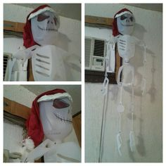 Jack Skellington. There is a cat toy mouse attached to his santa hat. I followed the milk jug skeleton idea from another pin. I created the hat and came up with Jack.