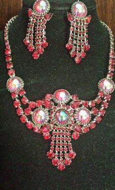 Vintage Juliana D&E necklace Clip earrings Red rhinestones Waterfall Chandelier in Jewelry & Watches, Jewelry & Watches | eBay