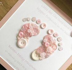 Button Footprint ~ Button Art ~ New Baby Gift - Handmade - Baby Baby Girl Cards, New Baby Cards, Baby Girl Gifts, Baby Gift Box, Baby Box, Button Art, Button Crafts, Print Button, Diy For Girls