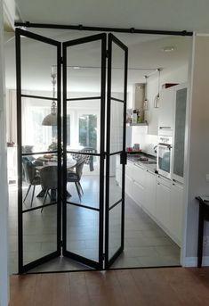 Loft Design, House Design, Home Room Design, Kitchen Room Design, Glass Doors Interior, House Interior, Doors Interior Modern, Glass Room, Apartment Interior