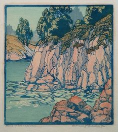 "Head of the Lagoon by Frances Gearhart about 1935. Color Blockprint 9 5/8 X 8 3/4"". Frances Gearhart (January 4, 1869 – April 4, 1959) was an American printmaker. ""a vibrant celebration of the western landscape.""["
