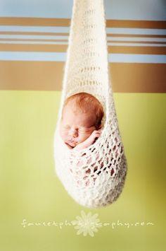 hanging stork sling photography prop - crochet pattern