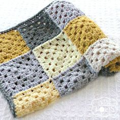 Crochet Baby Blanket Granny Square Crochet Blanket by puddintoes