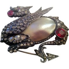 Magnificent Antique Rose Cut Diamond, Spinel & Blister Pearl Dragon Pin/Brooch/Pendant from The Moody Carpenter Exclusively on Ruby Lane