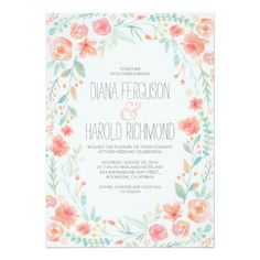Watercolor Floral Wreath Garden Wedding Invites
