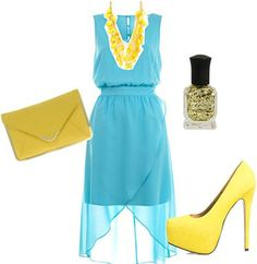 "Outfit inspired by Coldplay's ""Yellow"": Blue dress, yellow accessories, gold polish"
