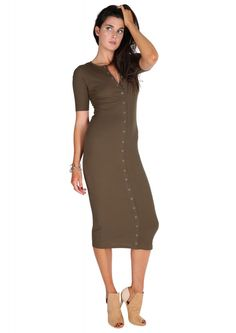Oh Snap Button Ribbed Maxi Dress in Olive | Necessary Clothing