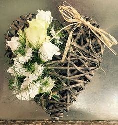 Sympathy Tribute - Wicker Heart, Avalanche Rose, Lisianthus & Nigella Wicker Hearts, Nigella, Grapevine Wreath, Grape Vines, Homes, Wreaths, Flowers, Crafts, Home Decor