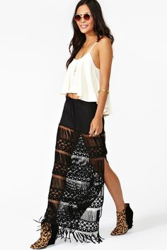 Vintage Inspired & Fringe???  SIGN US UP!  Jen's Pirate Booty Morrison Maxi Skirt @ Nasty Gal NOW!
