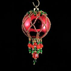 Beaded Ornament Cover 1412 by BeadingWolves on Etsy