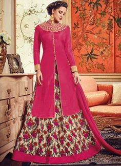 Pink Beige Embroidery Work Banarasi Silk Designer Lehenga Wedding Anarkali Suit