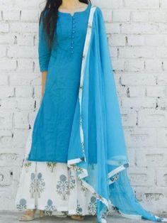 Kurta Pyjama - Blue hibiscus print sharara set  #kurtapyjama #kurtapajama #kurtaset #alaya Simple Kurti Designs, Salwar Designs, Kurti Neck Designs, Kurta Designs Women, Kurti Designs Party Wear, Blouse Designs, Churidhar Designs, Indian Designer Outfits, Designer Dresses