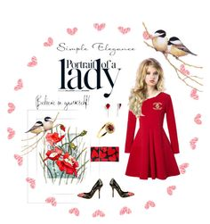 """Portrait of a Lady in Red"" by spiderwoodhollow on Polyvore featuring WithChic, Dolce&Gabbana, Kate Spade, Chanel and Inez & Vinoodh"