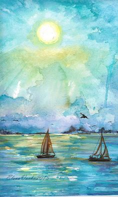 Sailboats on the ocean at dawn off the coast of Key West,Florida Original watercolor painting