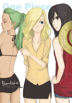 One piece gender switch!! Zoro x Sanji x Luffy by brendalai.deviantart.com on @deviantART