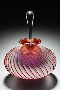 "Twist by Mary Angus. Lively twists of sandblasted and etched blown glass.""Twist"" Art Glass Perfume Bottle Created by Mary Angus Perfumes Vintage, Antique Perfume Bottles, Vintage Bottles, Bottle Vase, Bottles And Jars, Glass Bottles, Glass Vase, Mason Jars, Verre Design"