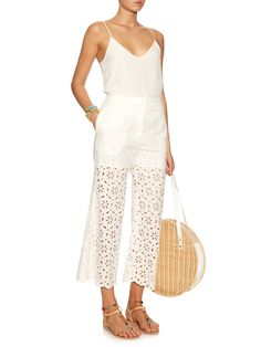 Roza broidere-anglaise cotton cropped trousers | Zimmermann | MATCHESFASHION.COM…