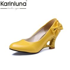 2017 Ladies Stiletto Big Size 34 43 Womens High Heels Shoes Strange Heart  Heels Woman Pumps Bowtie Office Wedding Bridal Shoes-in Women s Pumps from  Shoes ... 27f965b09e6e