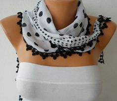 White Scarf  Cotton  Scarf  Headband Necklace   Polka by fatwoman, $15.00