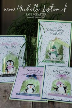 Card Crafts, Paper Crafts, Snow Globe, Free Items, Stampin Up Cards, Make Your Own, Penguins, Cardmaking, Christmas Crafts
