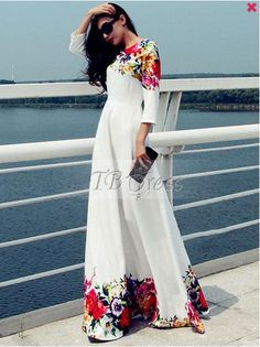 Printed Floor Length White Evening Dress – joymanmall dresses casual party vacation dress vacation clothes dresses for a cruise winter vacation outfit Maxi Dress With Sleeves, Floral Maxi Dress, Manga Floral, Maxi Robes, Women's Evening Dresses, Plus Size Maxi Dresses, Casual Dresses, Formal Maxi Dresses, Wrap Dresses