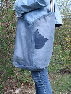Denim Boho Bag / Jeans Bag / Denim purse / Recycled Bag / Denim Shoulder Bag /handbag with recycled bag Bag Jeans, Denim Tote Bags, Denim Purse, Jeans Denim, Denim Boho, Denim And Lace, Denim Crafts, Jean Crafts, Urban Bags