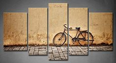 5 Panel Wall Art Old Rusty Vintage Bicycle Near the Wall Painting Pictures Print on Canvas Architecture Picture for Home Modern Decoration