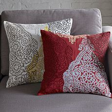 Hand-Blocked Cotton Henna Pillow Cover