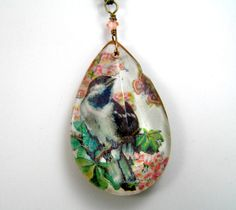 Chandelier Glass Pendant, Long Pendant Necklace, Bird Necklace, Romantic, Spring Jewelry, Vintage Glass, Woodland Jewelry, Pastel Jewelry. $32.00, via Etsy.