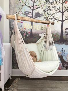 This hammock chair and woodland wall mural wallpaper are wonderful design ideas for a baby nursery kid's room or playroom - Unique Nursery and Children's Room Decor - KindredVintage Co. Summer Tour Enchanted Forest Mural is from Anthropologie Girls Bedroom, Teenage Girl Bedrooms, Small Room Bedroom, Trendy Bedroom, Bedroom Themes, Bedroom Decor, Bedroom Ideas, Small Rooms, Bedroom Designs