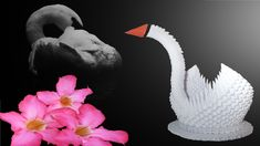 3d Origami Schwan, Origami Swan, Dinosaur Stuffed Animal, Animals, Deutsch, 3d Origami Tutorial, Paper Art, Animales, Animaux
