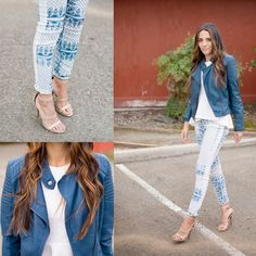 We absolutely love this outfit. Acid washed printed jeans paired with a blue leather jacket. It's a perfect spring transition look!