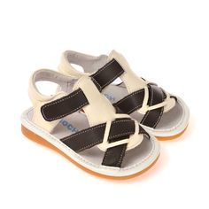 Cute cream/brown sandals for toddlers. Check our page for sizes in stock