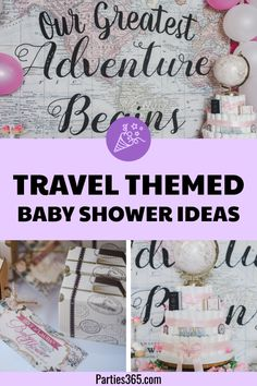 A travel themed baby shower is a perfect idea as the adventure into parenthood begins! Get ideas from vintage maps to custom invitations, favors, decorations and even creative food in this beautiful baby shower held in an airplane hanger! Baby Shower Favors, Baby Shower Parties, Baby Shower Themes, Baby Shower Decorations, Shower Ideas, Fun Party Themes, Ideas Party, Theme Ideas, Diy Party
