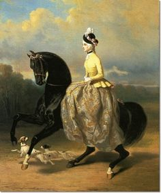 An Elegant Lady Riding in a Park with her Spaniels by Alfred De Dreux