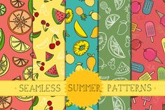 Seamless Summer Patterns Part 1 by wowpatterns on Creative Market