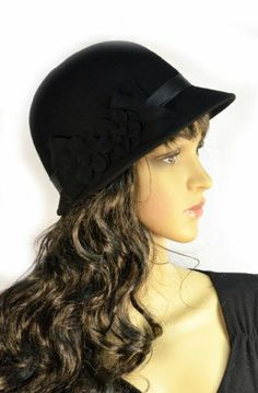 Pure Wool Cloche Women's Hat Black Wool Flowers with Matching Satin Band SK Hat shop,http://www.amazon.com/dp/B00IB136WY/ref=cm_sw_r_pi_dp_lVK.sb0MYKA40QR3