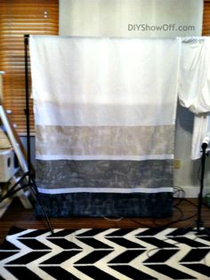 Painting Curtains ~ This would be great with the Ombre Dye Clock tutorial. Love the White panels and what a steal $9.99 For Two!