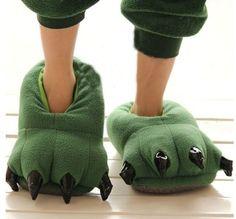 Green Dinosaur Claw Slippers