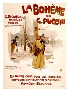 La Boheme by Adolfo Hohenstein // vintage opera poster