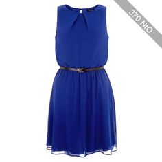Dark Blue Chiffon Belted Dress