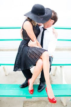Catalina Island Engagement // retro black hat + red shoes (Acqua Photo)