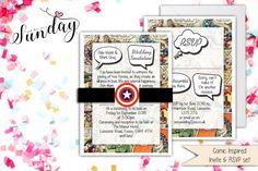 Vintage Marvel/DC cómic conjunto de invitación de boda/cumpleaños/ocasión  Este listado está para x1 Marvel/DC Comic Book Set invitación, invitación, RSVP tarjeta y viene completo con personalizado banda de Capitán América y x1 sobre blanco. El diseño en la plaza frente al centro se puede cambiar, por favor en contacto conmigo para obtener más información. El diseño es impreso a todo color con un borde blanco alrededor de la invitación y tarjetas de RSVP.  Sus invitados les encantará este…