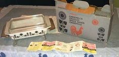 Pyrex black rooster space saver with box