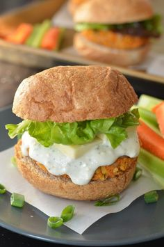 Buffalo Chickpea Sliders: I've had sliders that I liked from both Karyn's on Green (crab sliders). It was no surprise to me how delicious these were since I already like chickpeas. I couldn't find slider bread but hamburger buns did the trick.