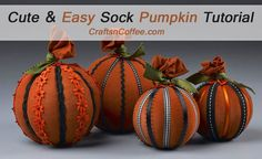 Love these Sock & Ribbon Pumpkins! Fun-to-make gift ideas for teachers & neighbors, too. CraftsnCoffee.com