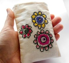 mobile case handmade embroidered Flowers Christmas gift idea